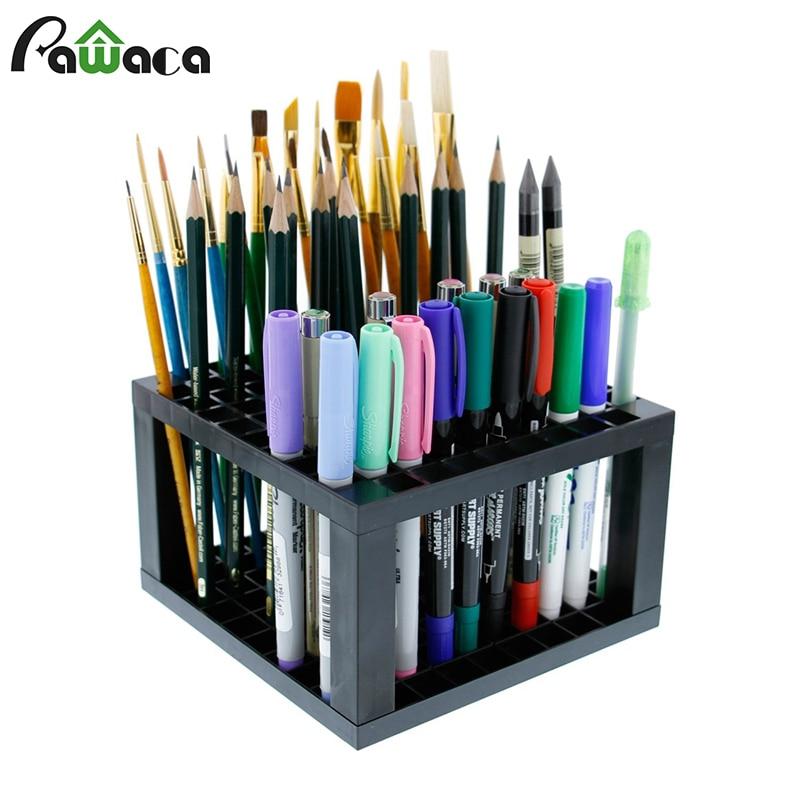 Portalápices y portalápices de plástico de 96 agujeros soporte de escritorio soporte organizador para bolígrafos, pinceles de pintura, lápices de colores, marcadores de suministro de arte