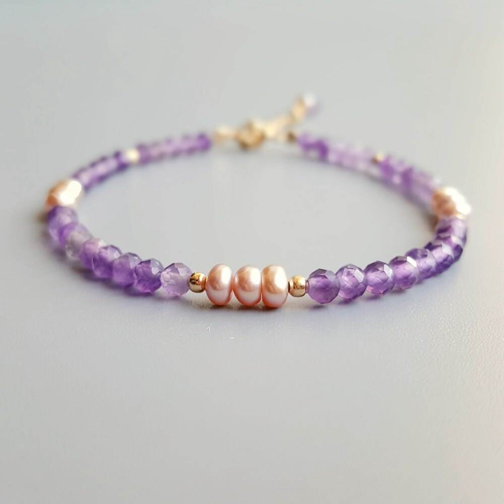 Lii Ji amatista Natural Rosa perlas púrpura de agua dulce pulsera 925 plata esterlina delicada pulsera ajustable para joyería de mujer