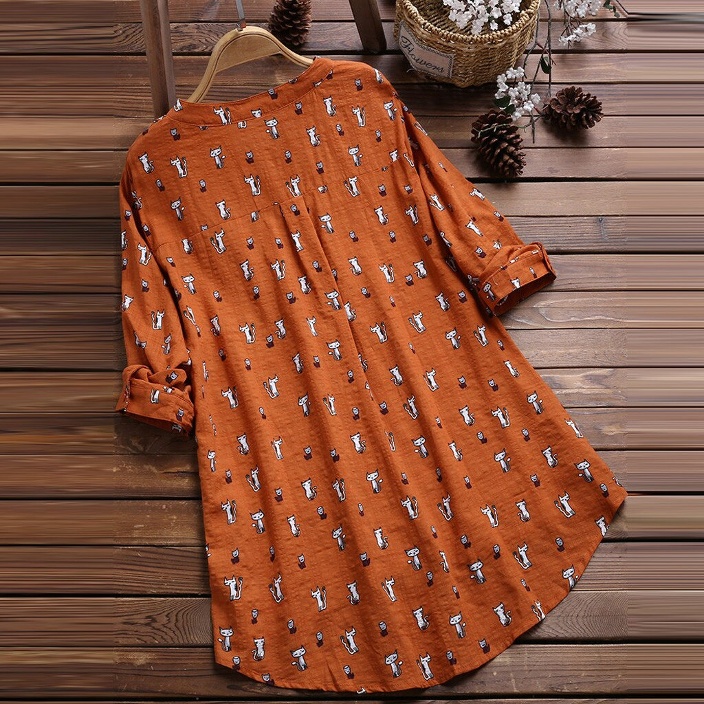 Tamanho grande M-5XL camisa feminina solta casual com decote em v impresso gato blusa moda 3/4 manga irregular vintage tops camisa/pt