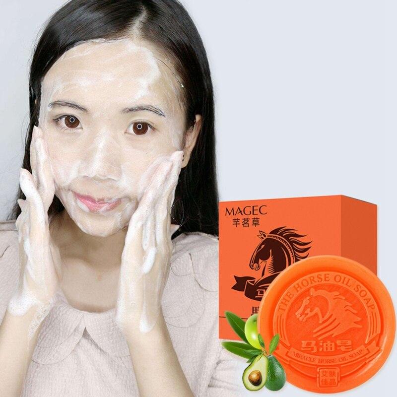 Aceite de caballo jabón hidratante limpiador para acné Remova cuidado Facial corporal aceite-Control blanqueamiento refrescante hidratación 80g D1