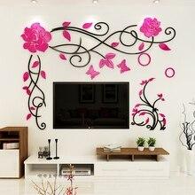 Rose vigne acrylique 3D Stickers muraux salon mariage chambre peinture murale décoration TV fond bricolage art décoration murale