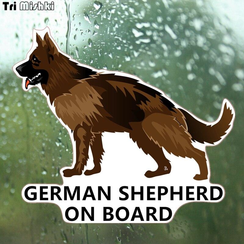 Tri mishki WCS165 14x14cm perro pastor alemán a bordo divertida Calcomanía para auto pegatinas coloridas calcomanías para automóviles