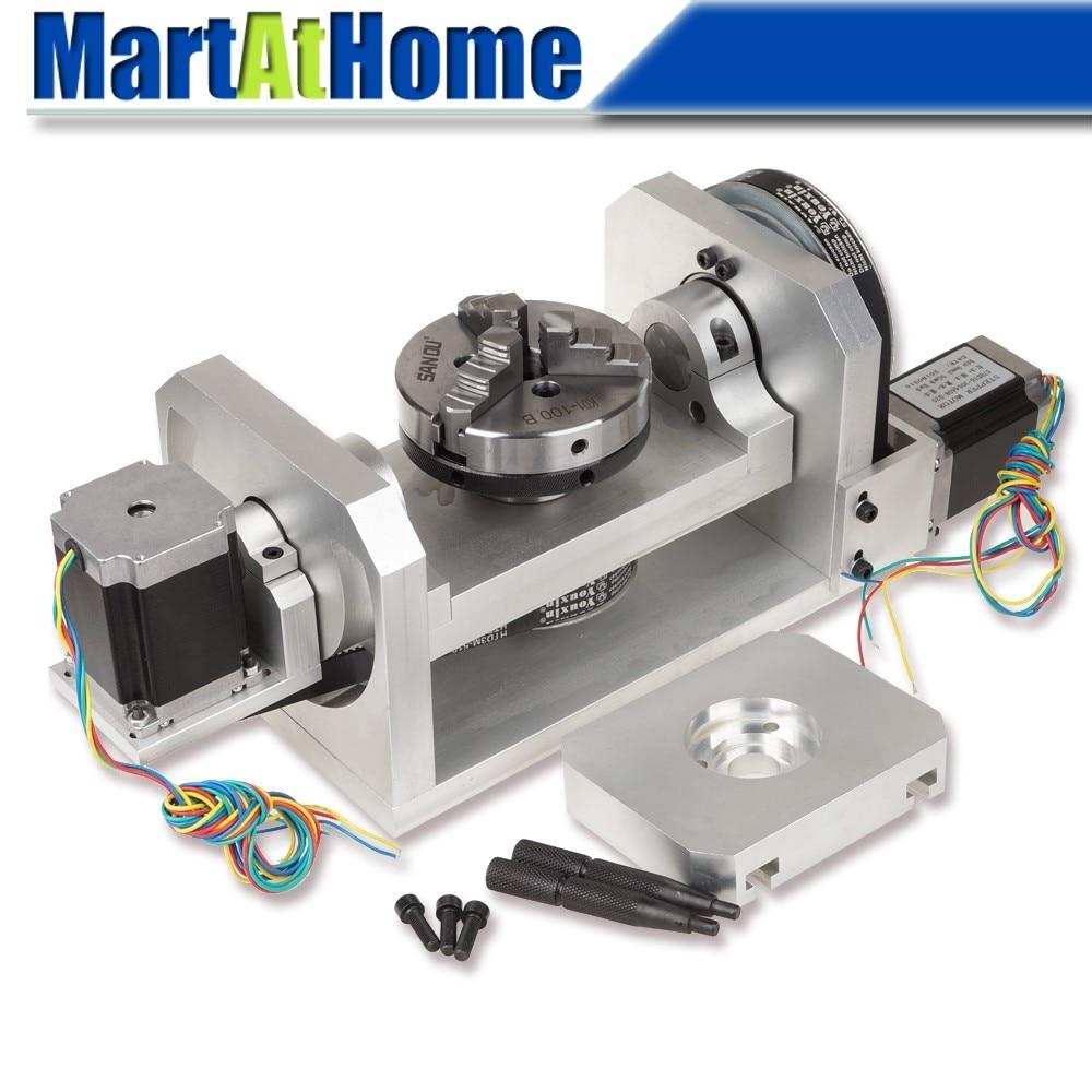 Eixo rotativo da tabela 4th & 5th da máquina do roteador do cnc com mandril & 57 2-fase 250 oz-no motor deslizante