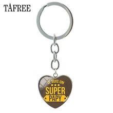 TAFREE عالية الجودة سوبر بابي سلاسل المفاتيح زجاجة على شكل قلب كابوشون الكبرى مجرد قلادة مفتاح سلسلة كيرينغ حقيبة Charms هدية SG87
