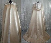 Capes de mariage capuche Satin Capes vestes automne hiver pleine longueur longue mariée châle manteau boléro Train accessoires de mariage