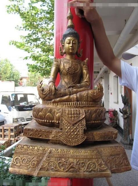 Canción voge joya S0194 25 Tíbet Budismo Cobre bronce gild Tailandia Sakyamuni Kwan-yin Buda GuanYin