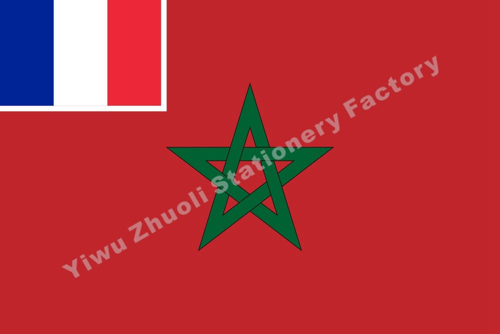 French Morocco Civil Flag 150X90cm (3x5FT) 120g 100D Polyester Double Stitched High Quality Banner недорого