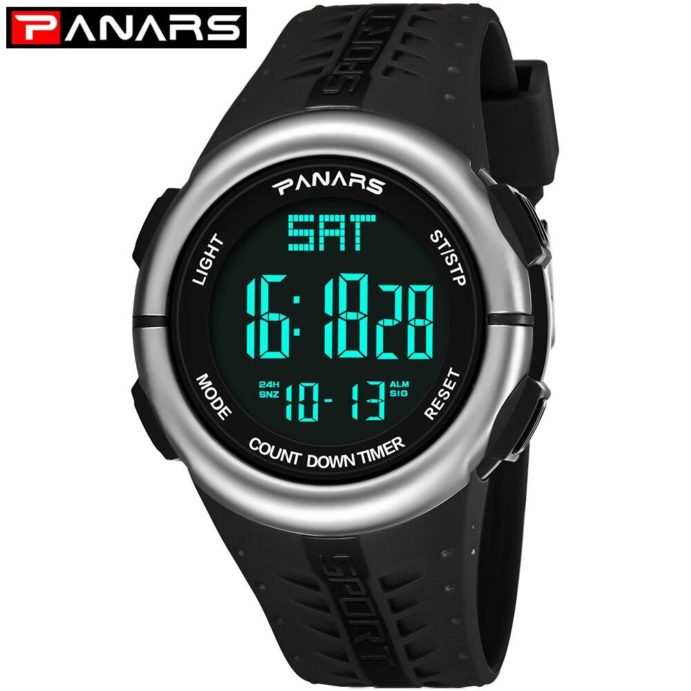 PANARS relojes digitales para hombre a prueba de agua horas de natación reloj despertador masculino LED retroiluminación de pantalla reloj de pulsera podómetro reloj 8002