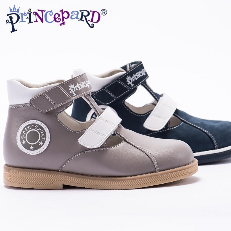 Nuevas sandalias ortopédicas de verano para niños Princepard, zapatos de microfibra de cuero genuino, zapatos grises de la Marina, plantilla con forro de Cuero de cerdo