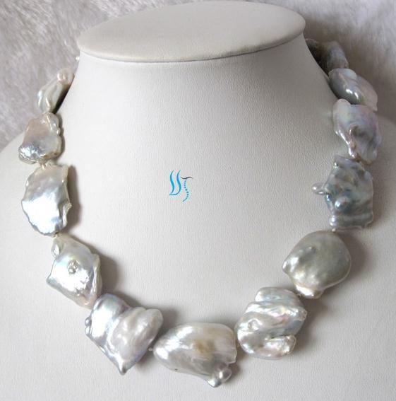 Joyería de la suerte enorme 18 pulgadas 22-32mm Souffle blanco collar de perlas de agua dulce