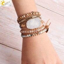 CSJA Boho Bracelets denveloppement en cuir pour Femme Bracelet en cristal blanc pierre naturelle Geode Druzy perles bohème wikkelbrassard S424