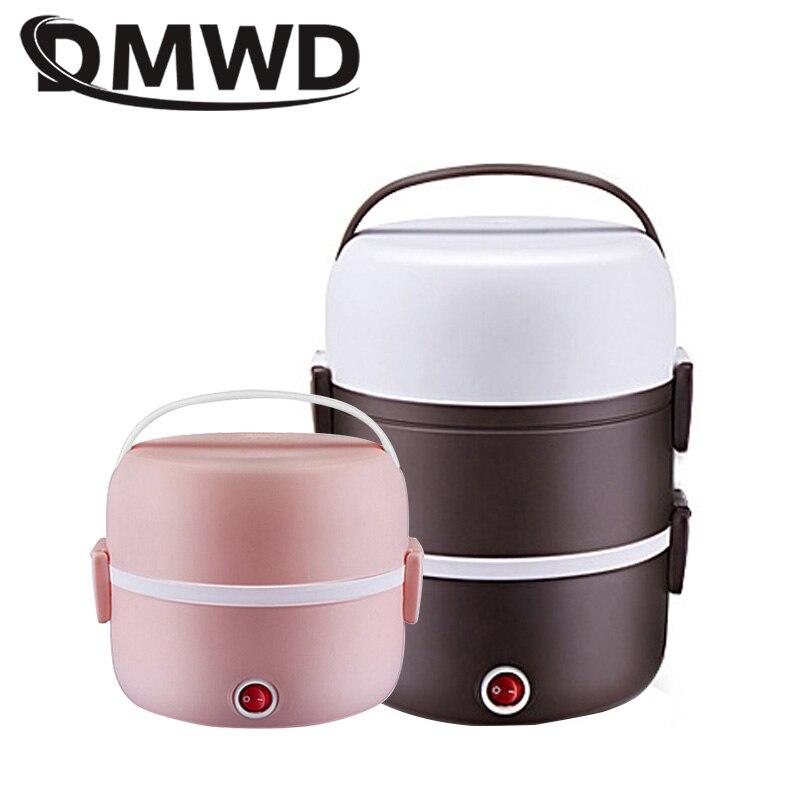DMWD eléctrico 2L mini arroz olla de acero inoxidable 2/3 capas calentador de comida de vapor portátil calentamiento Automática aislamiento de la caja de almuerzo