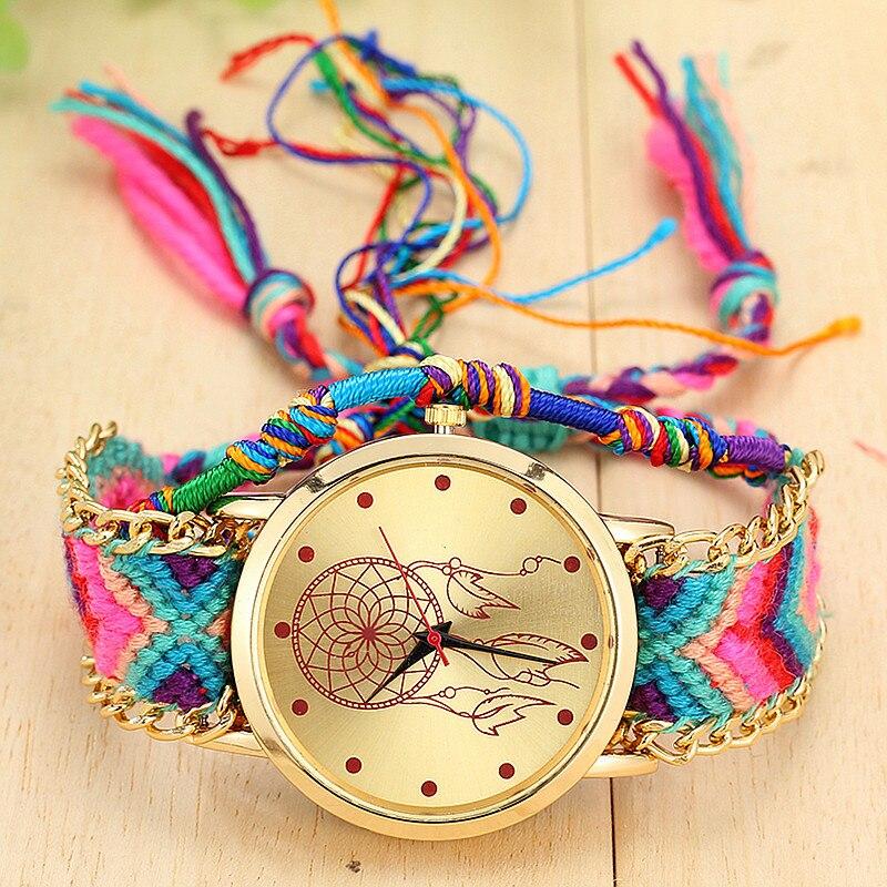 Dropshipping hecho a mano trenzado atrapasueños reloj con brazalete de Amistad señoras reloj con cuerda Quarzt relojes Relogio Feminino