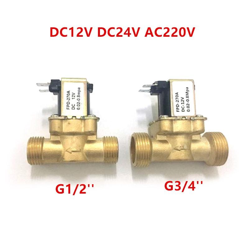 ebowan g1 4 24v 12v water solenoid valves normally closed 2 way dc 0 120psi 0 0 8mpa ro solenoid valve EBOWAN Flow Switch G1/2'' Brass Solenoid valve N/C 12v 24v 220v G3/4'' For Water Heater