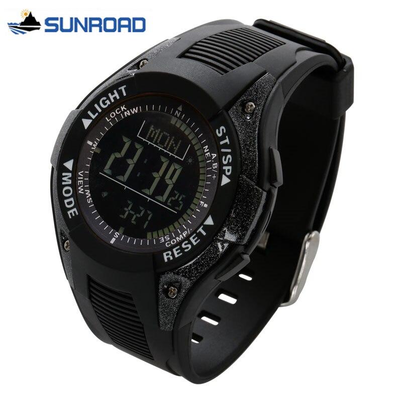 SUNROAD montre étanche numérique montre-bracelet avec altimètre + baromètre + boussole + heure du monde + chronomètre Sport montre horloge hommes femmes Saat