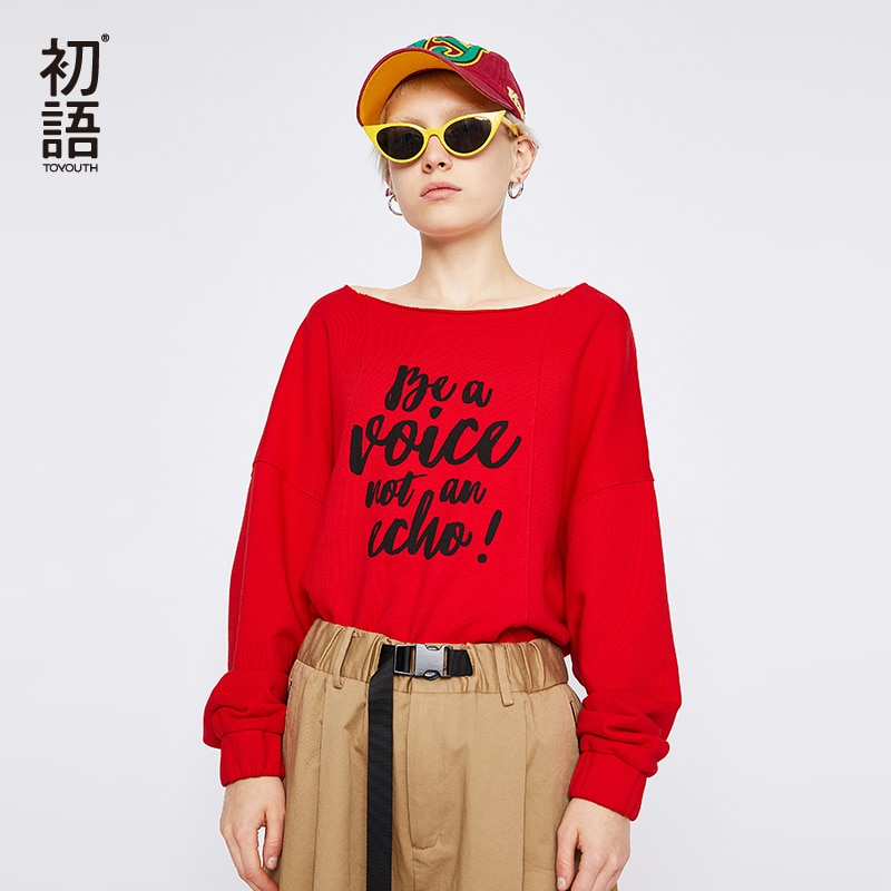 Toyouth impresión floja de letra Sewatshirts para las mujeres fuera del hombro mujeres Pullovers Chic Base Tops o-cuello con estilo Hoodies