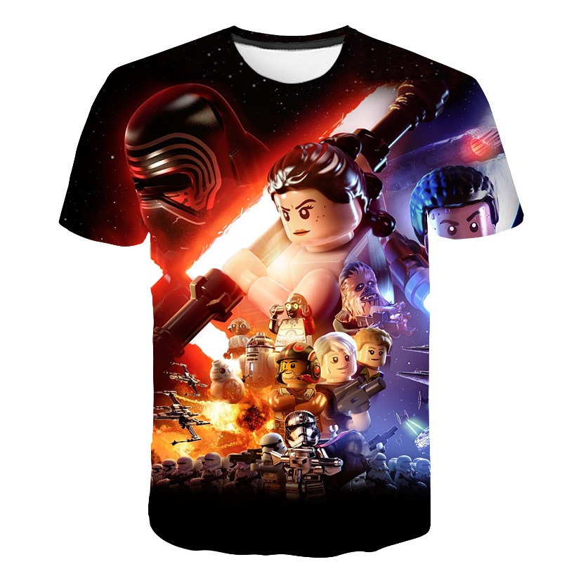 Anime Star Wars hombres camisa 3D estampado Fitness transpirable Bodybuilding verano Casual 2019 Lego camisas de secado rápido hombre Tee BZPOVB