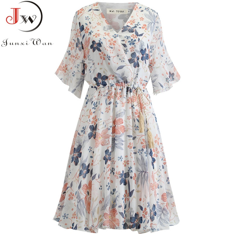 Women Summer Dress 2019 New Floral Print Long Chiffon Dress Female Short Sleeve Casual Fashion Party Robe Vestidos Plus Size