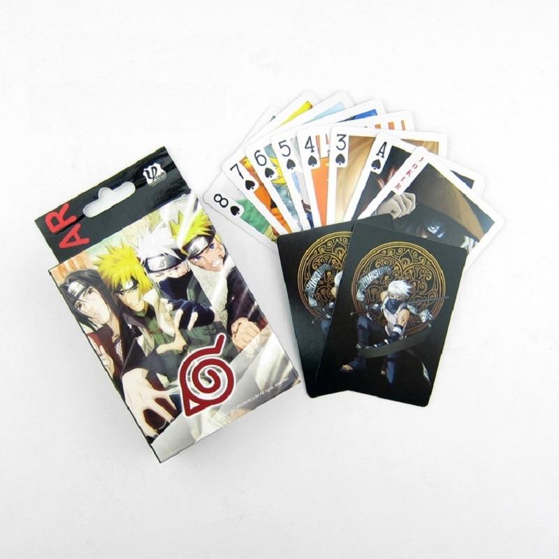 Anime una pieza Luffy helicóptero Zoro derecho todos los miembros y Naruto Tarjeta de póquer creativo juguetes para niños colección tarjetas jugando a las cartas