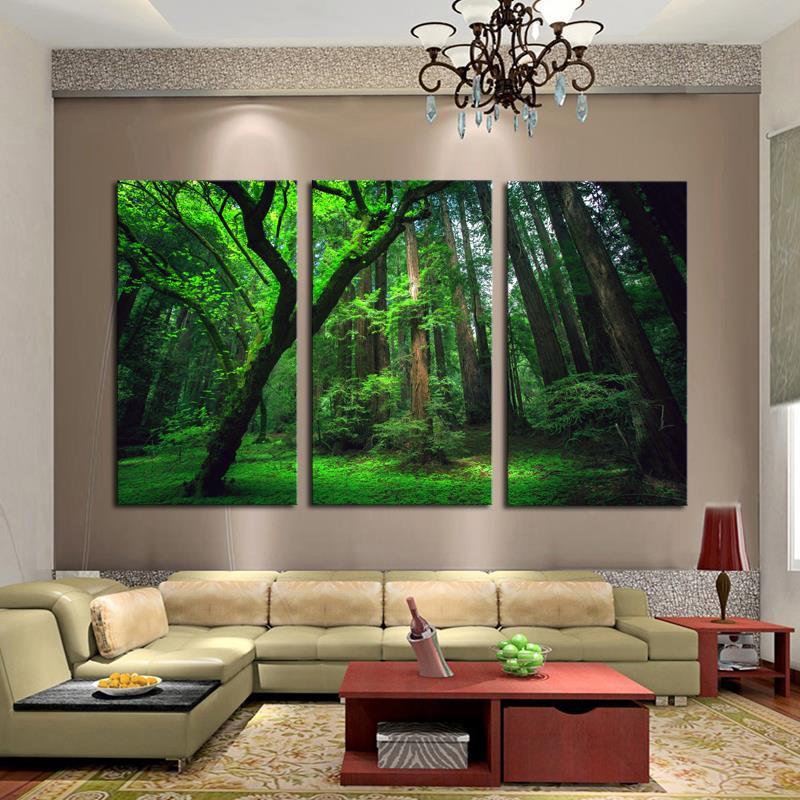 3 Painéis Green Forest Imprimir HD Canvas Pintura Arte Moderna OilPainting início Wall Decor Canvas Art HD Picture On Canvas impressões