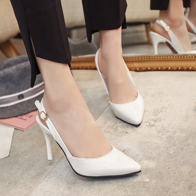 Nuevas mujeres coreanas sexy altos de Punta zapatos de boca baja de PU cómoda un botón sólido hebilla color antideslizante zapatos de tacón alto
