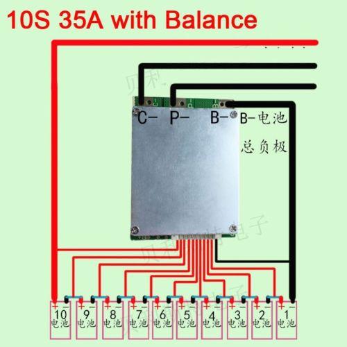 BMS PCB para 36 v 10 s 35A Li-ion Bateria Lipolymer com EQUILÍBRIO ebike escooter