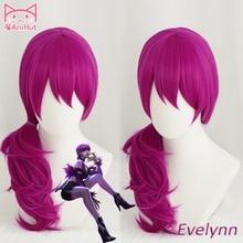 Perruque Cosplay KDA POP/STAR Evelynn perruques Cosplay femme longue ligne droite perruque violette LOL KDA Evelynn KPOP peau cheveux