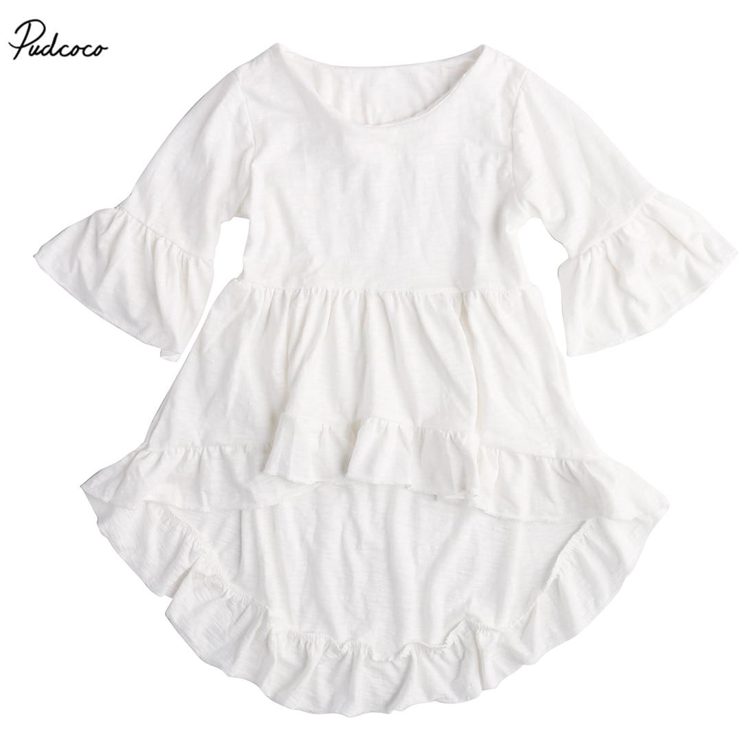 Baby Girls Asymmetrical Dress 2017 New Summer Frills Flare Sleeve Party Ruffles Hem Dresses 1-6Y
