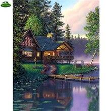 Bricolage 5D peinture diamant en bois   Maison, YHAter rivière, point de croix, Kit de broderie mosaïque, loisirs vie diamant, Patchwork artisanat