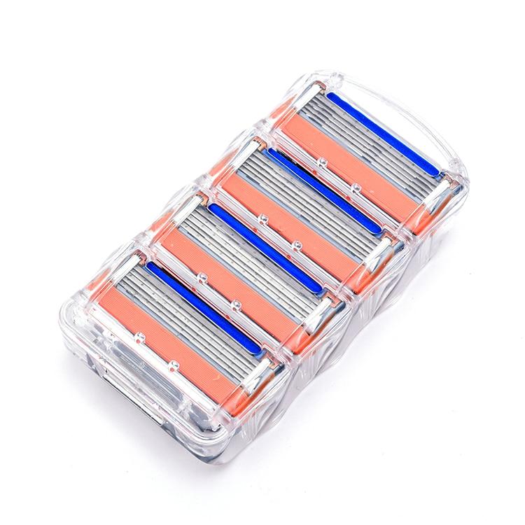 4pcs / Pack Razor Blade for Men Safety Face Care 5 Layer Stainless Steel Shaving Cassette for Gillettee Melting Handle