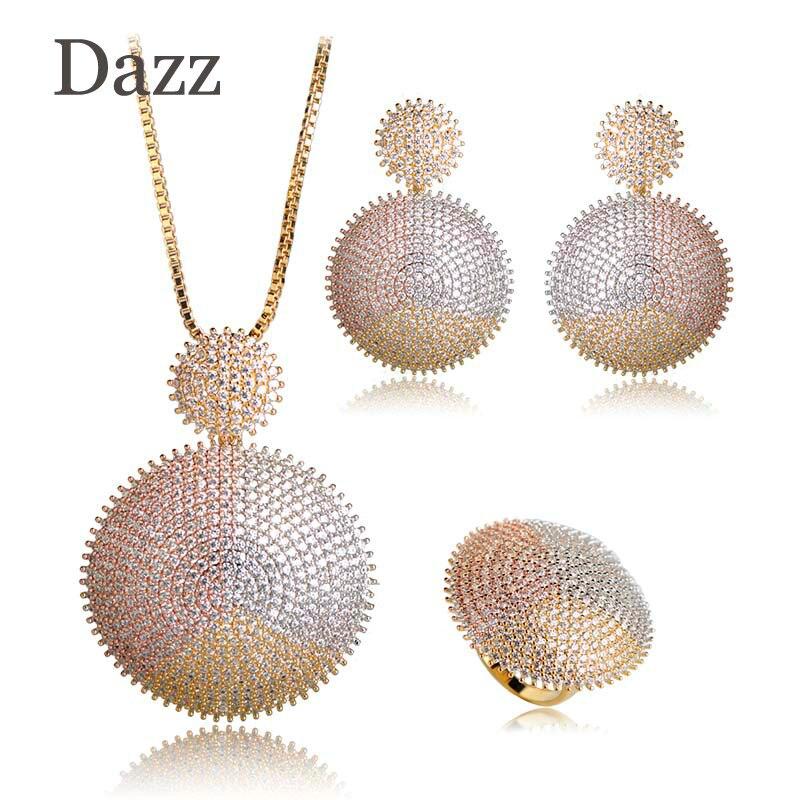 Dazz qualidade superior dupla redonda conjuntos de jóias aaa zircônia cúbica casamento nupcial grande pingente colar brinco anel conjunto cobre bijoux