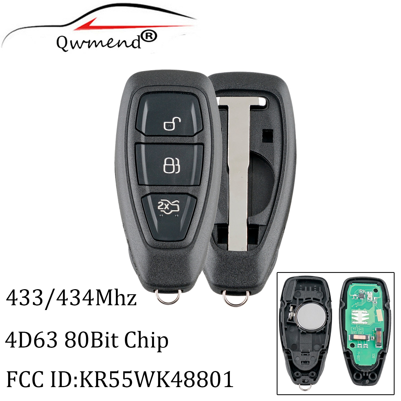 3 botões chave remota inteligente para ford kr55wk48801 434/433mhz para ford focus fiesta kuga 2011-2017 transponder chip 4d63 80bit