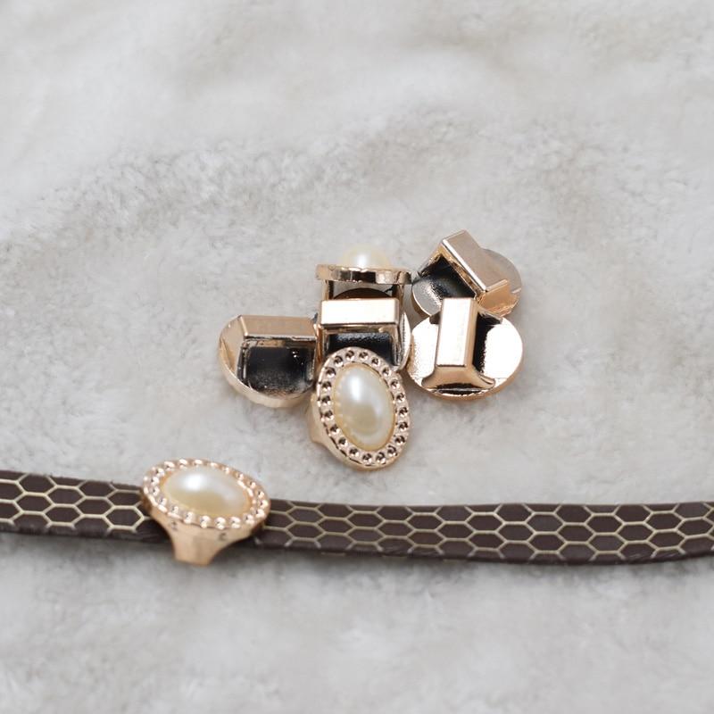 ¡Novedad! hebillas para cinta ccb de color dorado con perla ovalada uv, 17/20mm, deslizador de cinta de cuerda de 20 piezas, accesorios de flores doradas para zapatos de bolsa