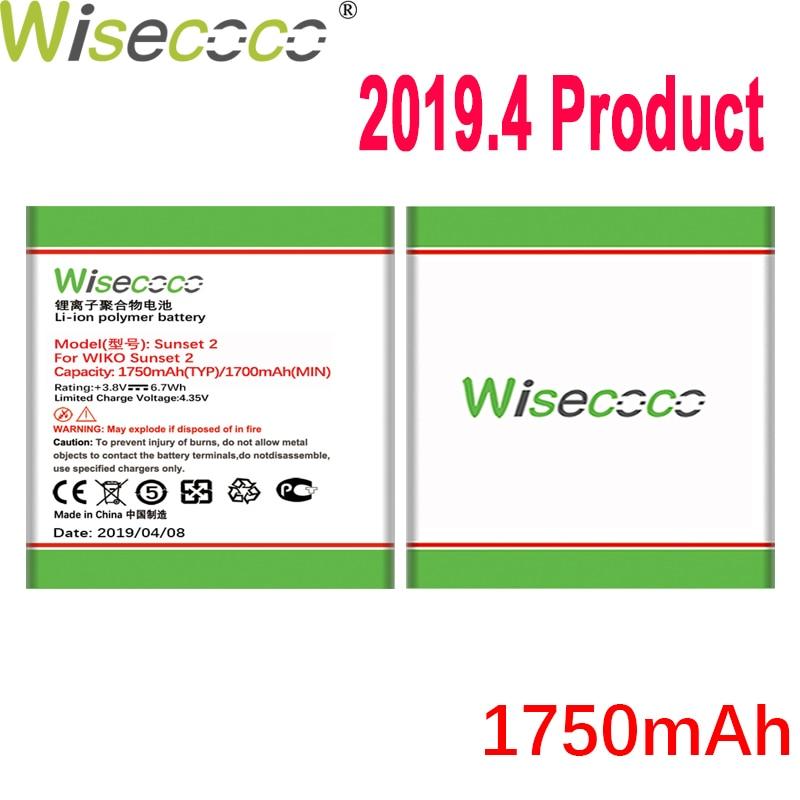 Batería WISECOCO 1750 mAh Sunset 2 para teléfono móvil Wiko Sunset 2 en Stock batería de alta calidad de última producción + número de seguimiento