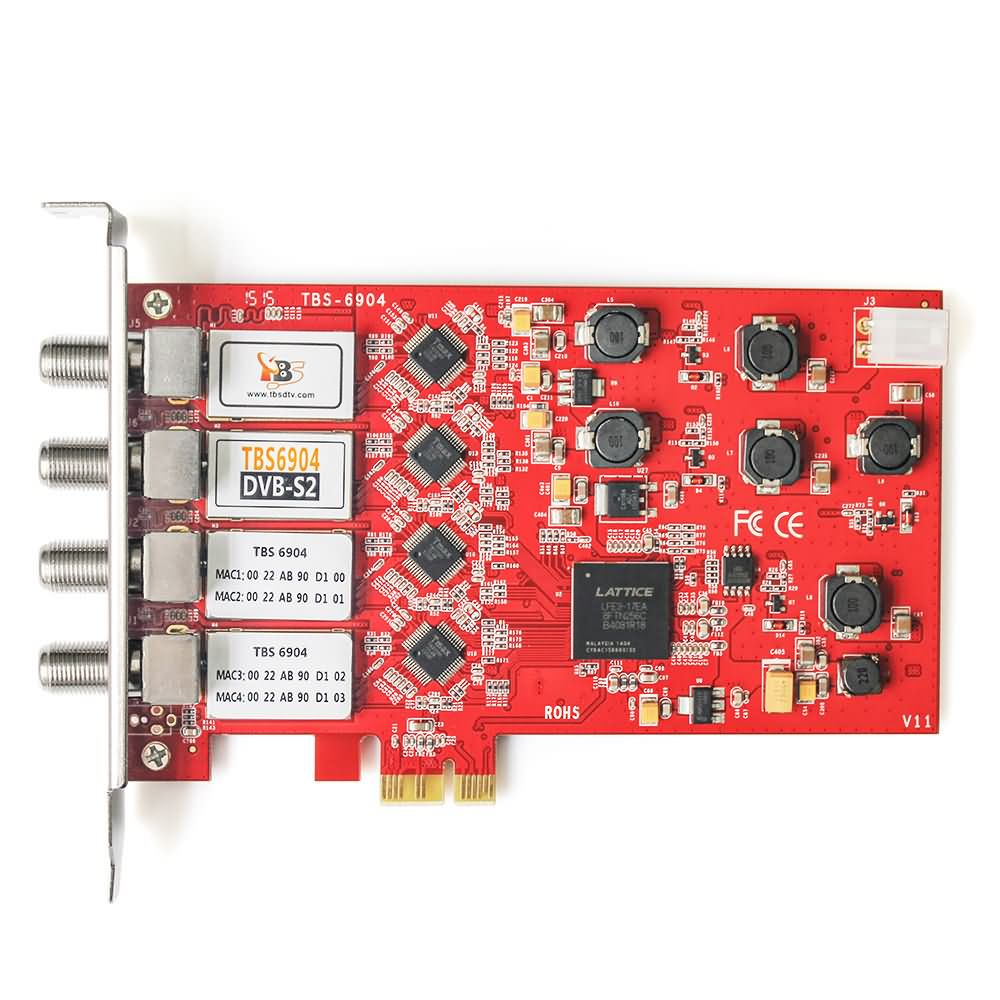 Nuevo TOP TBS6904 DVB-S2 Quad sintonizador PCIe TARJETA DE 4 sintonizador S2 DVB-S DVB-S2 cuatro canales receptor de satélite