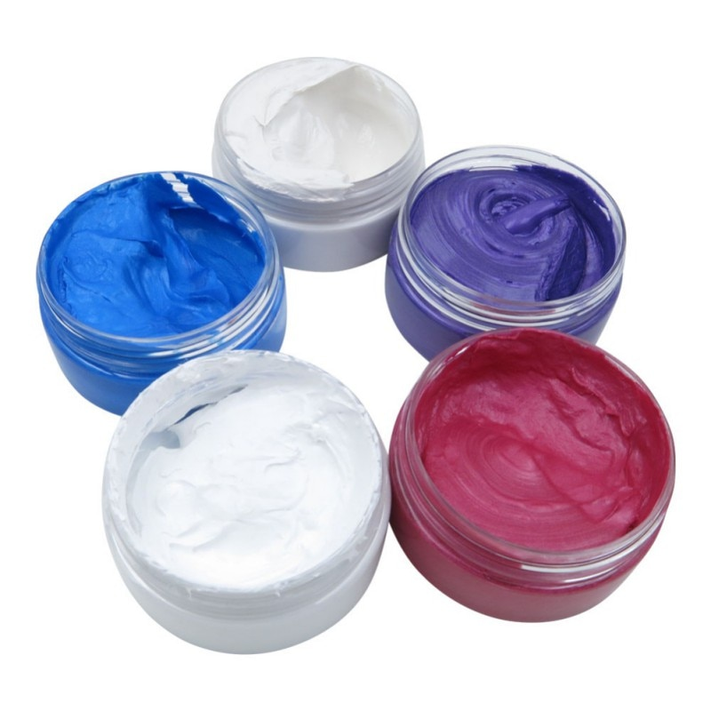 5 Colors Dynamic Modeling Hair Wax Makeup Hair Dye Wax Hair Color One-time Molding Paste Hair Wax Colour hair colour cream pomades modeling pomade hairstyle waxes ash wax hair color wax mud disposable modeling dye cream washable