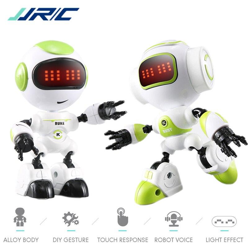 JJRC R8 Robot Gesture Mini Smart Voiced Intelligent LED Eyes RC DIY Robots Blue Green Orange Robo Toys For Children Kids Gifts