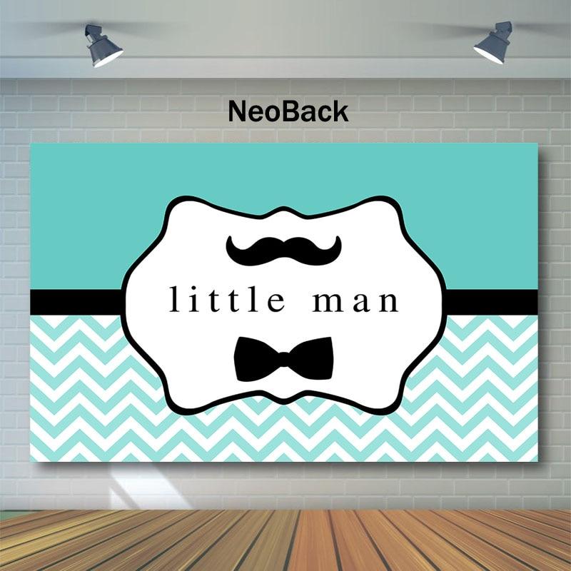 NeoBack Little Man Baby Shower Backdrop Little Boy Beard bow tie Photography Background for Baby Shower gentleman Blue Backdrops