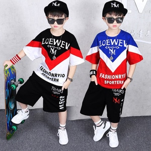 Pinchwork Boys 2019 New set in Children's Summer clothes short sleeves Boys hip-hop teen-agers two-piece set size 110-180