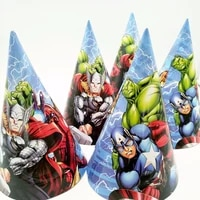 6pcs avenger birthday party supplies paper hats caps for baby shower kids cartoon superhero party decoration festival favors