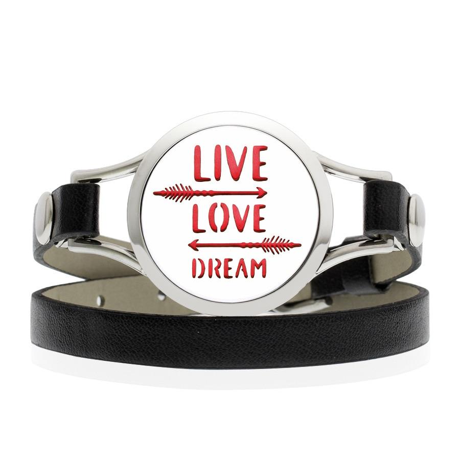 Hand Stamped LIVE LOVE DREAM Arrow Leather Bracelet 25mm Stainless Steel Magnetic Essential Oil Diffuser Locket Bracelet
