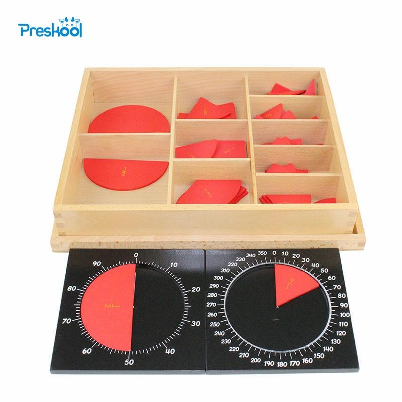 Montessori Math teaching aids kindergarten children wooden toys Cut-Out Labeled Fraction Circles 1-10