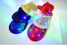 Hot LED Verlichting Cowboyhoed Halloween Jazz Pailletten Volwassen en kinderen Show Stage Prestaties Hoeden Luminescentie 6 Kleuren