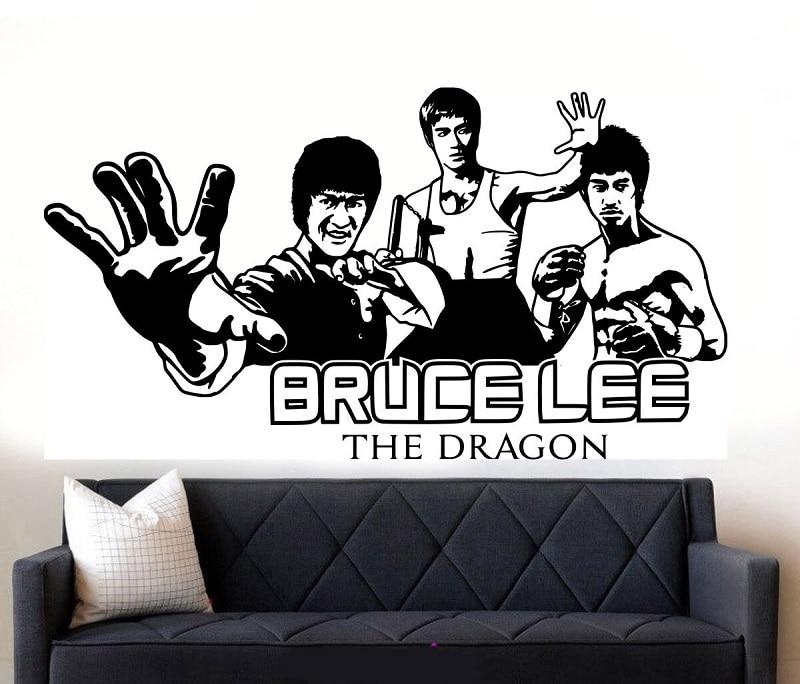 Pegatina de vinilo para pared Bruce Lee strikes star karate, mural artístico para habitación, decoración de sala de estar, decoración de sala de boxeo QJ02