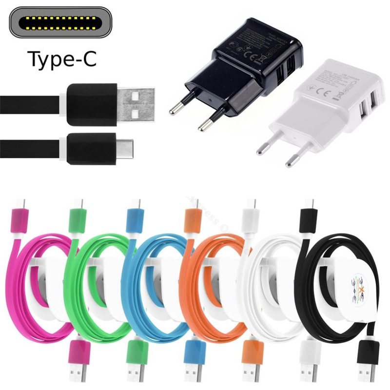 1 M/2 M/3 M USB tipo C Cable retráctil para Xiaomi mi 5 rojo/mi 5S/Plus/mi/A1/Max 2 USB-C adaptador cargador de teléfono de pared de la UE