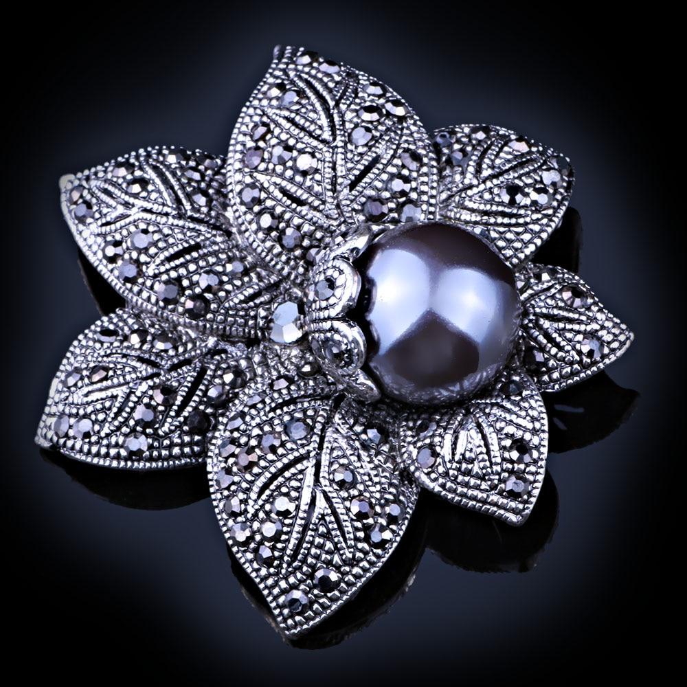 Faelena jóias estilo vintage duplo imitação pérola flor broche elegante preto strass broches e pinos para mulher