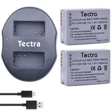Tectra 2 pièces NB-10L NB10L Li-ion Batterie + Chargeur Double USB pour Canon G1X G15 G16 SX40HS SX50HS SX60HS SX40 SX50 SX60 HS Caméras
