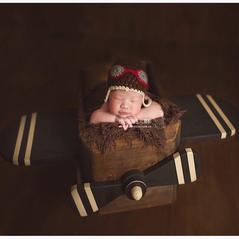 Newborn Pilot Theme Photography Props Wood Aircraft Posing Basket for Baby Photo Shoot Accessories Infant bebe fotografia Props