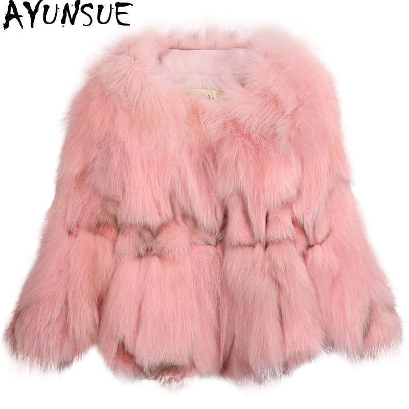 AYUNSUE abrigo de piel auténtica de zorro 2020 mujeres moda invierno cálido chaqueta de piel para mujer corto abrigo señoras prendas de vestir casacos D3H8822-5