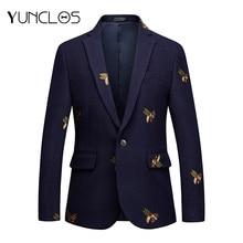 YUNCLOS broderie costume veste pour hommes fête de mariage mince Blazers haute qualité décontracté hommes costume Blazers blazer masculin